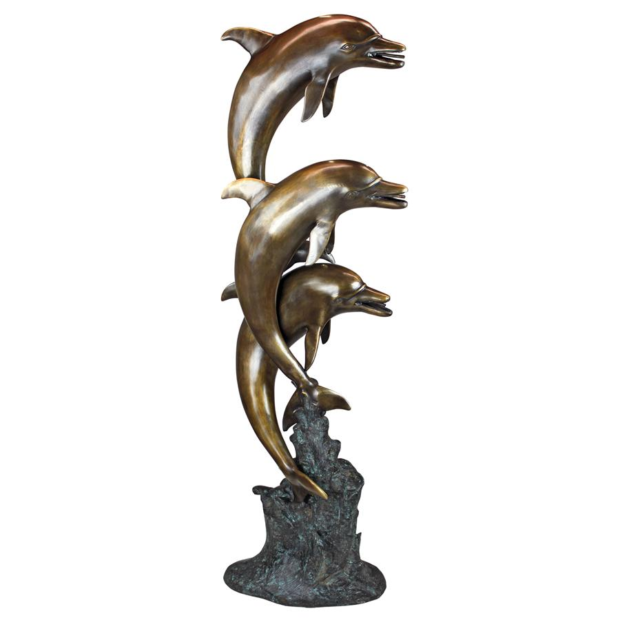 Triple Leap Dolphins Piped Statue(Available 12/07/18)