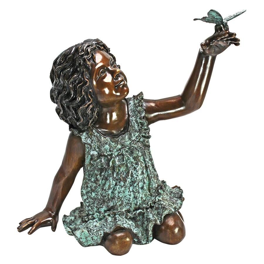 Butterfly Wonder Little Girl Bronze