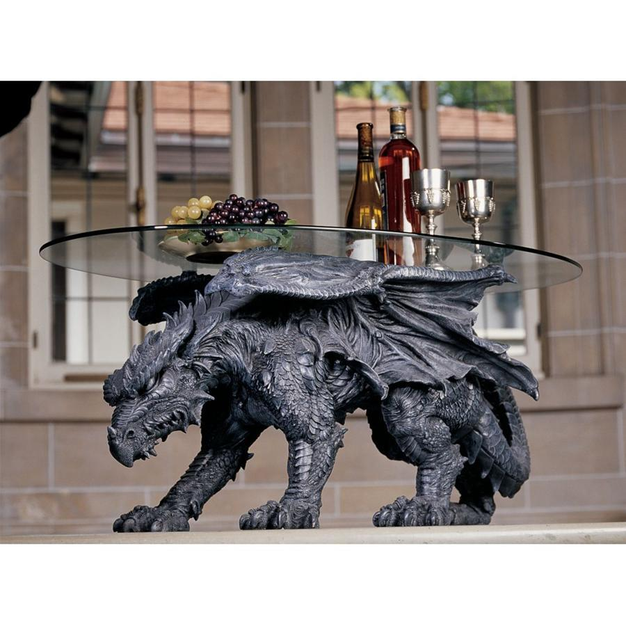 Warwickshire Dragon Glass Top Sculptural Coffe Table - barsforhomes.com