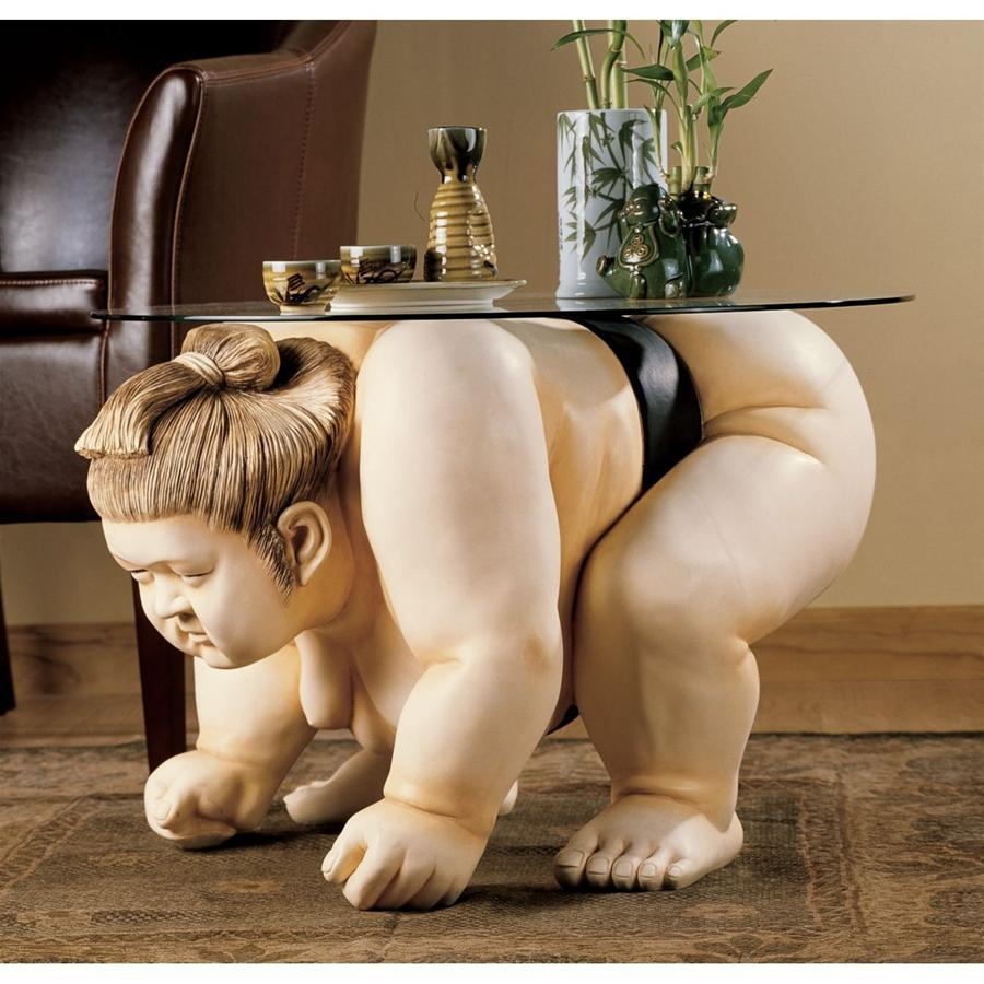 Basho The Sumo Wrestler Glass Topped Sculptural Table - barsforhomes.com