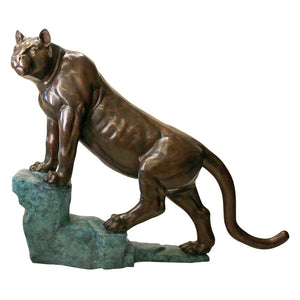 Cougar On A Rock Bronze Statue