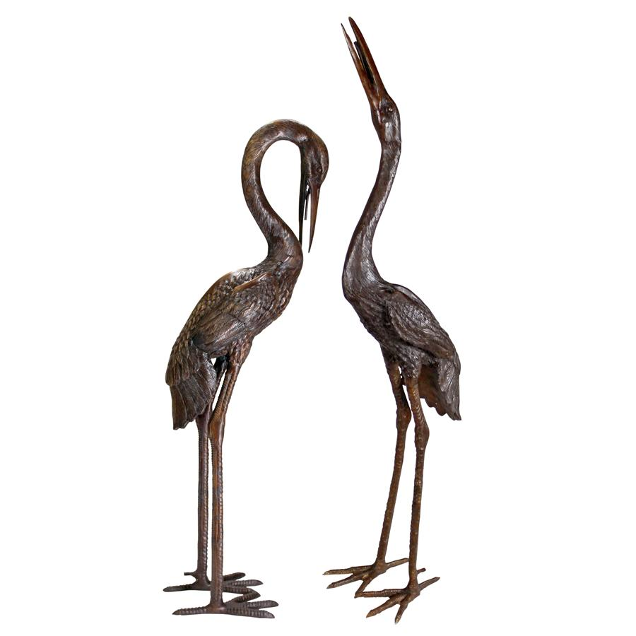 Large Set Of 2 Herons Bronze Statues