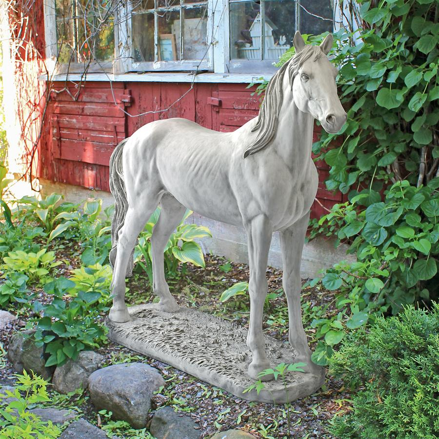 Majestic Horse Statue Antique Stone