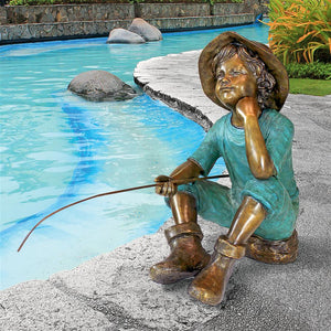 Fish Wish Fisher Boy Bronze Statue