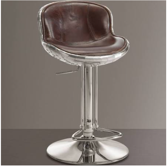 Brancaster Leather Aluminum Armless Adjustable Barstool - barsforhomes.com