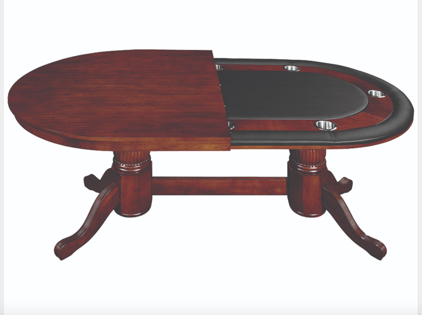 Ram 84 Texas Hold'em Game Table With Dining Top-English Tudor