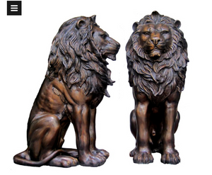 Royal Bronze Sitting Lion Sculpture Pair