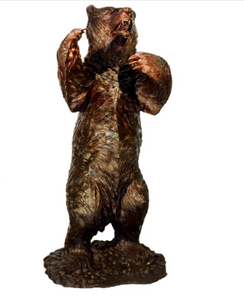 BRONZE STANDING GRIZZLY BEAR SCULPTURE