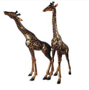 Gorgeous Bronze Life Size Jiraffe sculpture set