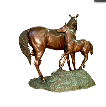 BRONZE HORSE & COLT SCULPTURE
