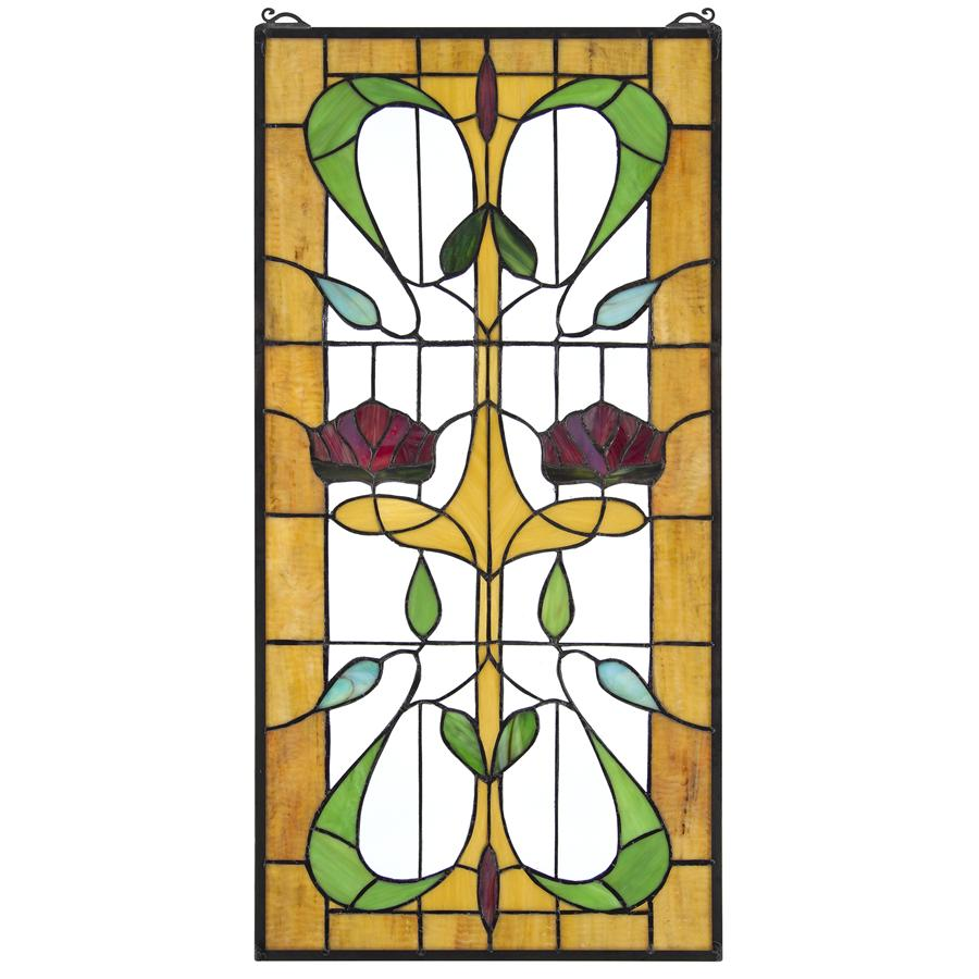 Ruskin Rose Two Flower Stained Glass