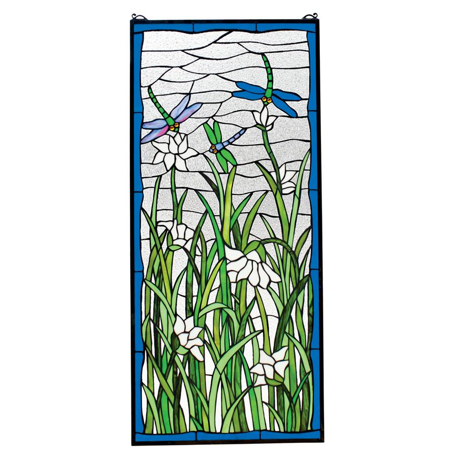 Dragonflies Dance Stained Glass Window