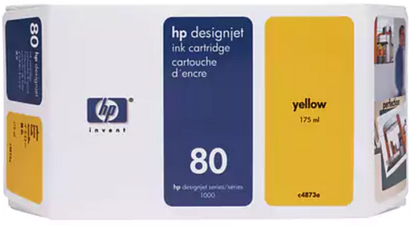 HP 80 Yellow Genuine OEM Original ink cartridge (C4848A) 350ml for HP Designjet 1050 /1055 series