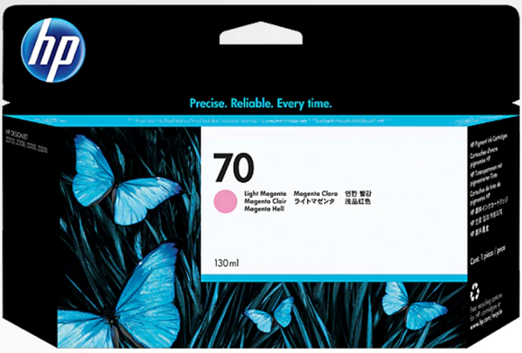 HP 70 Light Magenta 130 ml Genuine OEM Original Ink Cartridge Use in selected HP DesignJet printers (C9455A)