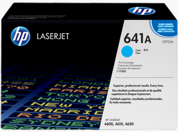 Genuine OEM HP Laserjet 641A (C9721A) Cyan Toner / Genuine OEM HP Color Laserjet 4650 Toner Cartridge