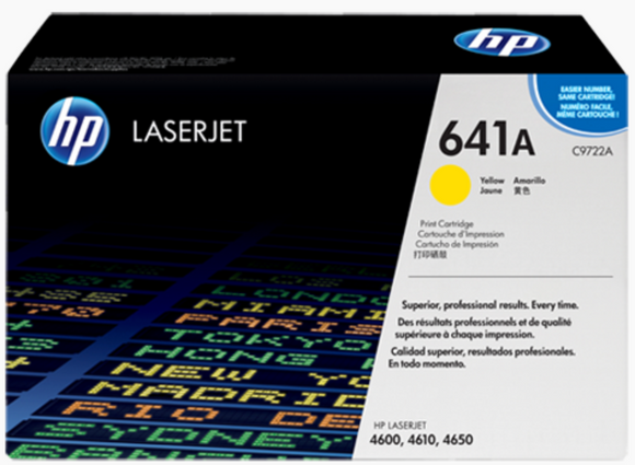 Genuine OEM HP Laserjet 641A (C9722A) Yellow Toner / Genuine OEM HP Color Laserjet 4650 Toner Cartridge