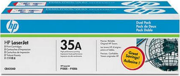 Genuine OEM HP Laserjet 35A (CB435D) 2-pack Toner / Genuine OEM HP Laserjet P1006 Toner Cartridge