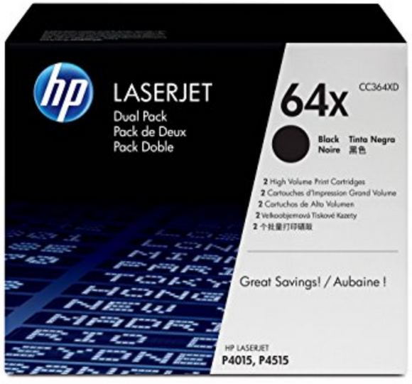 Genuine OEM HP Laserjet 64X (CC364XD) 2-pack High Yield Toners /  Genuine OEM LaserJet P4015 Toner Cartridges