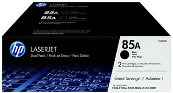 Genuine OEM HP Laserjet 85A (CE285D) 2-pack Toner / Genuine OEM LaserJet M1212 Toner Cartridge