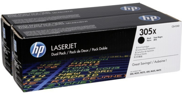 Genuine OEM HP Laserjet 305X (CE410XD) 2-pack High Yield Black Toner / Genuine OEM HP Laserjet M475 Toner Cartridge