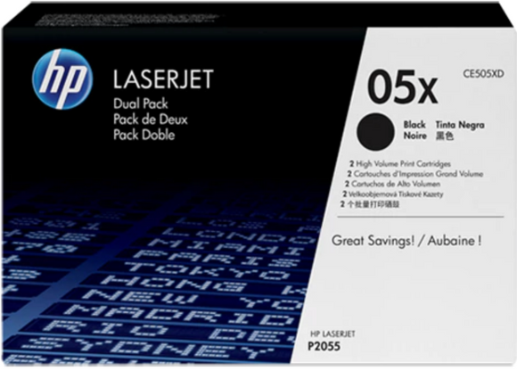 Genuine OEM HP Laserjet 05X (CE505XD) 2-pack High Yield High Yield Toner / Genuine OEM HP Laserjet P2055 Toner Cartridge