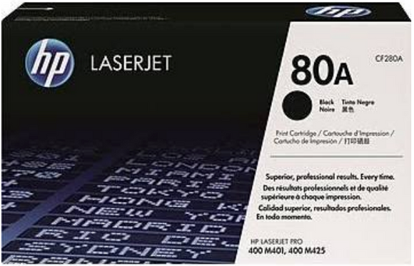 Genuine OEM HP Laserjet 80A (CF280A) Black Toner / Genuine OEM Color LaserJet M425 Toner Cartridge