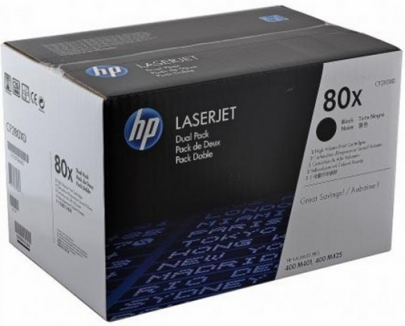 Genuine OEM HP Laserjet 80X (CF280XD) 2-pack High Yield Toner / Genuine OEM HP Laserjet M425 Toner Cartridge