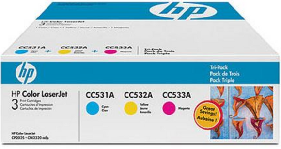 Genuine OEM HP Laserjet 304A (CF340A) 3-pack Cyan/Magenta/Yellow Toner / Genuine OEM LaserJet CM2320 Toner Cartridge