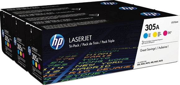 Genuine OEM HP Laserjet 305A (CF370AM) 3-pack Cyan/Magenta/Yellow Toner / Genuine OEM HP Laserjet M475 Toner Cartridge