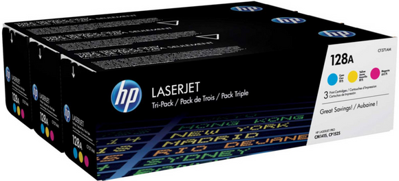 Genuine OEM HP Laserjet 128A (CF371AM) 3-pack Cyan/Magenta/Yellow Toner / Genuine OEM HP Laserjet CP1525 Toner Cartridge