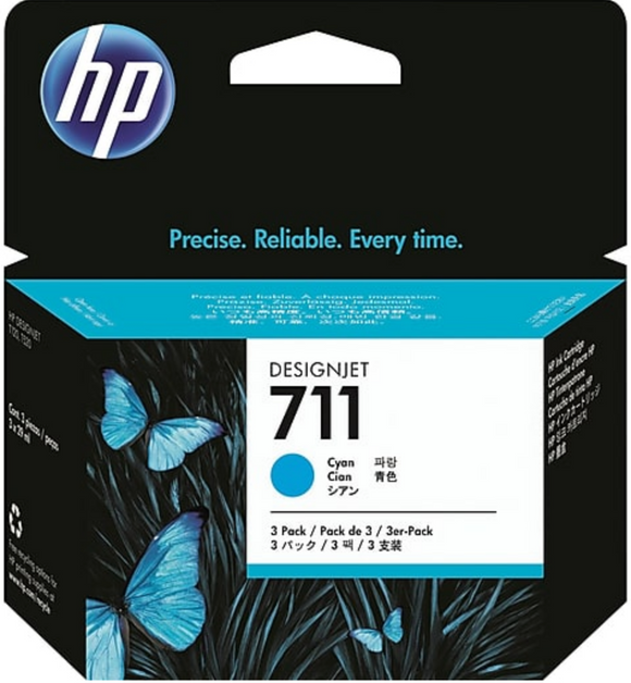 HP 711 3-Pack 29-ml Genuine OEM Original Cyan Ink Cartridge (CZ134A)