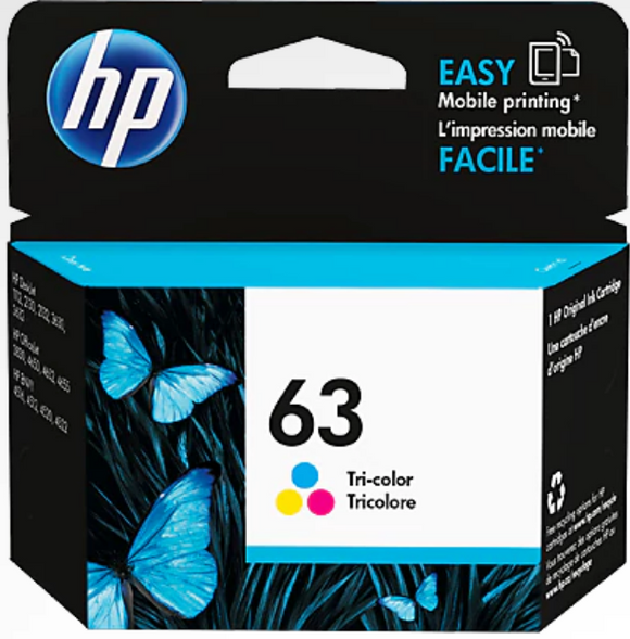 HP 63 Genuine OEM Original Tri-color Ink Cartridge (F6U61AN)