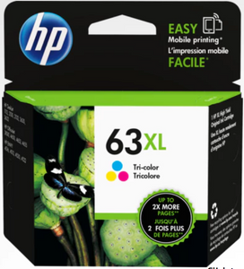HP 63XL Genuine OEM Original Tri-color Ink Cartridge (F6U63AN)