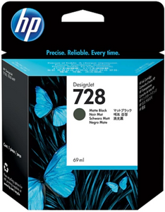 HP 728 69-ml Genuine OEM Original Matte Black DesignJet Ink Cartridge (F9J64A)