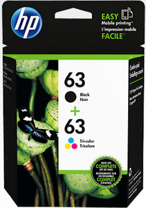 HP 63 Genuine OEM Original Clr/Blk Ink Cartridge Combo 2-Pack (L0R46AN)