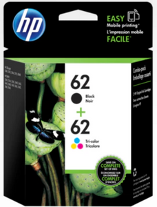 HP 62 ink combo pack (N9H64FN) - HP 62 Genuine OEM Original Tri-Color C2P06A, HP 62 Genuine OEM Original Black C2P04A