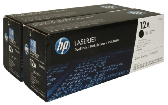 Genuine OEM HP Laserjet 12A (Q2612D) 2-pack Black Toner / Genuine OEM HP Laserjet 1010 Toner Cartridge