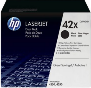 Genuine OEM HP Laserjet 42X (Q5942XD) 2-pack High Yield Black Toner / Genuine OEM HP Laserjet 4350 Toner Cartridge