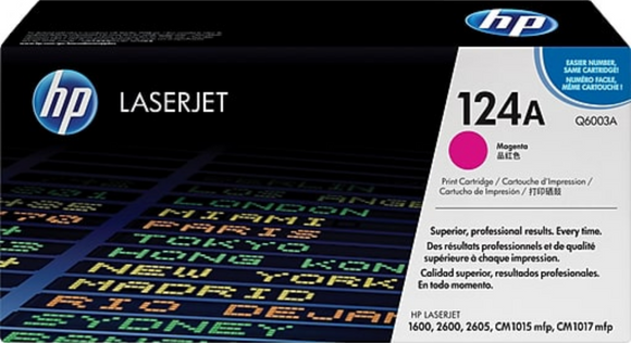 Genuine OEM HP Laserjet 124A (Q6003A) Magenta Toner / Genuine OEM HP Color Laserjet 2605 Toner Cartridge