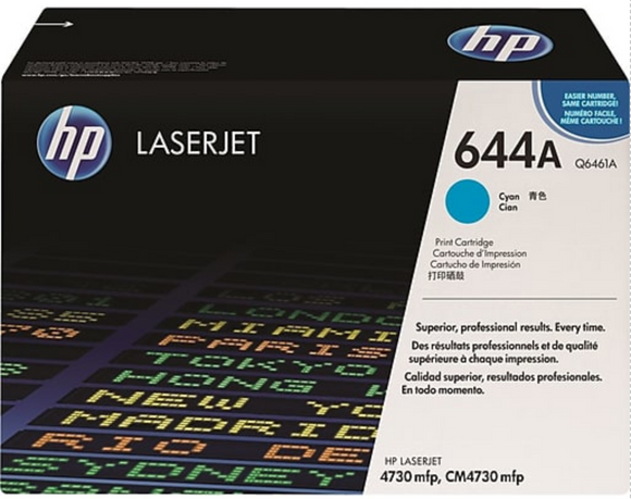 Genuine OEM HP Laserjet 644A (Q6461A) Cyan Toner / Genuine OEM HP Color Laserjet CM4730 Toner Cartridge