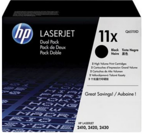 Genuine OEM HP Laserjet 11X (Q6511X) High Yield Toner / Genuine OEM HP Laserjet 2420 Toner Cartridge
