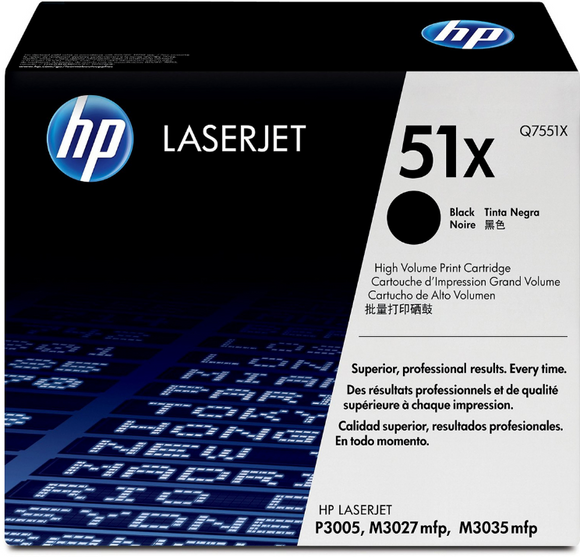 Genuine OEM HP Laserjet 51A (Q7551X) High Yield Toner / Genuine OEM HP Laserjet P3005 Toner Cartridge
