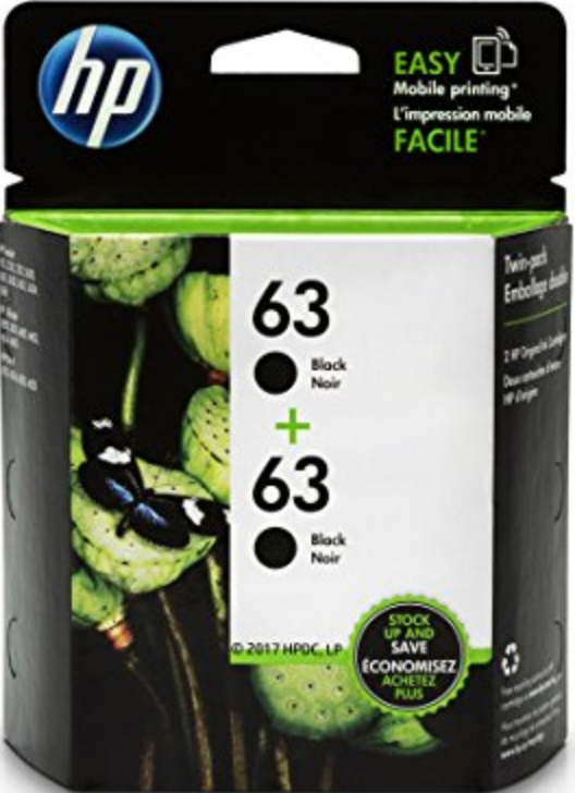 HP 63 (T0A53AN) Genuine OEM Original 2-Pack Black Ink Cartridge