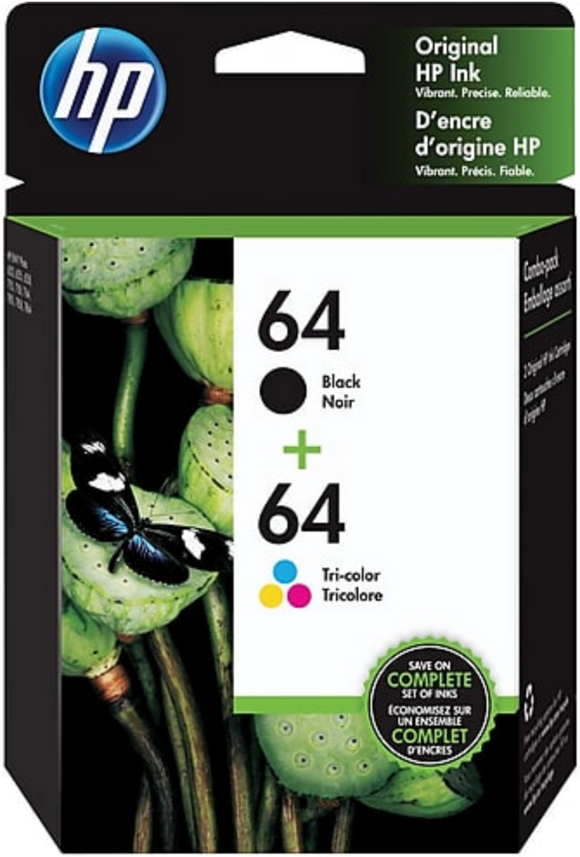 HP 64 (X4D92AN) Genuine OEM Original Tri-color/Black Ink Cartridge Combo 2-Pk