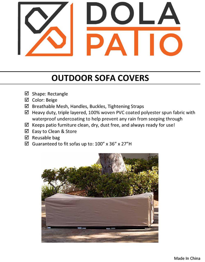 "Patio Sofa Cover Rectangle 100"" x 36"" x 27"" Waterproof"