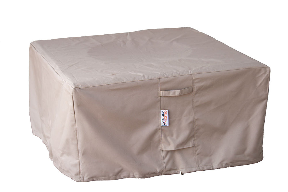 Outdoor Fire Table Cover Square Waterproof 44 x 44 x 28 Inches With Tightening Straps & Handles