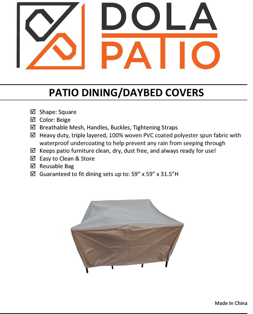 Outdoor Dining Cover Square 59-59-31.5-Inches Rainproof