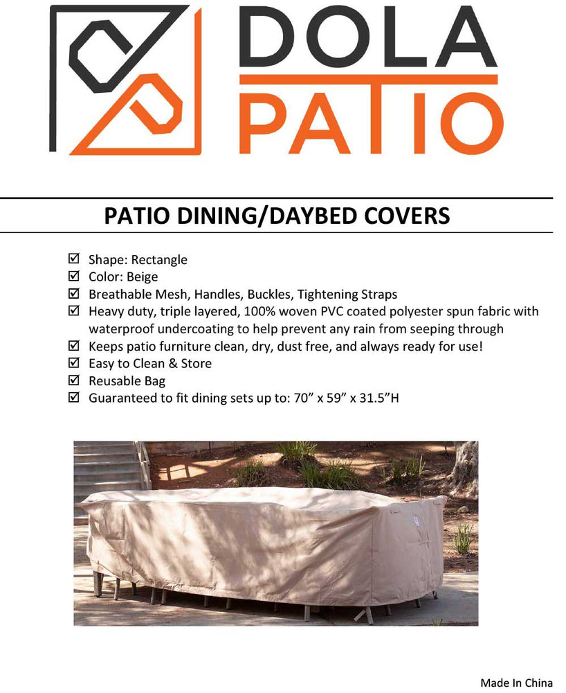 Outdoor Dining Table Set Cover Rectangle 70""