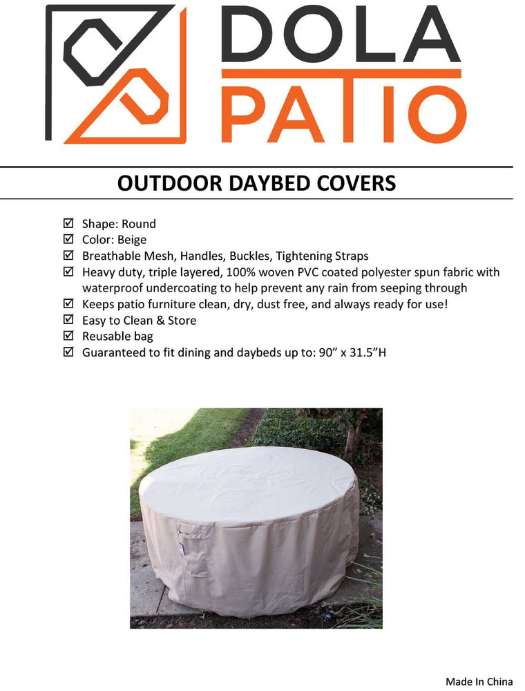 Outdoor Round Dining & Daybed Cover 90-Inches