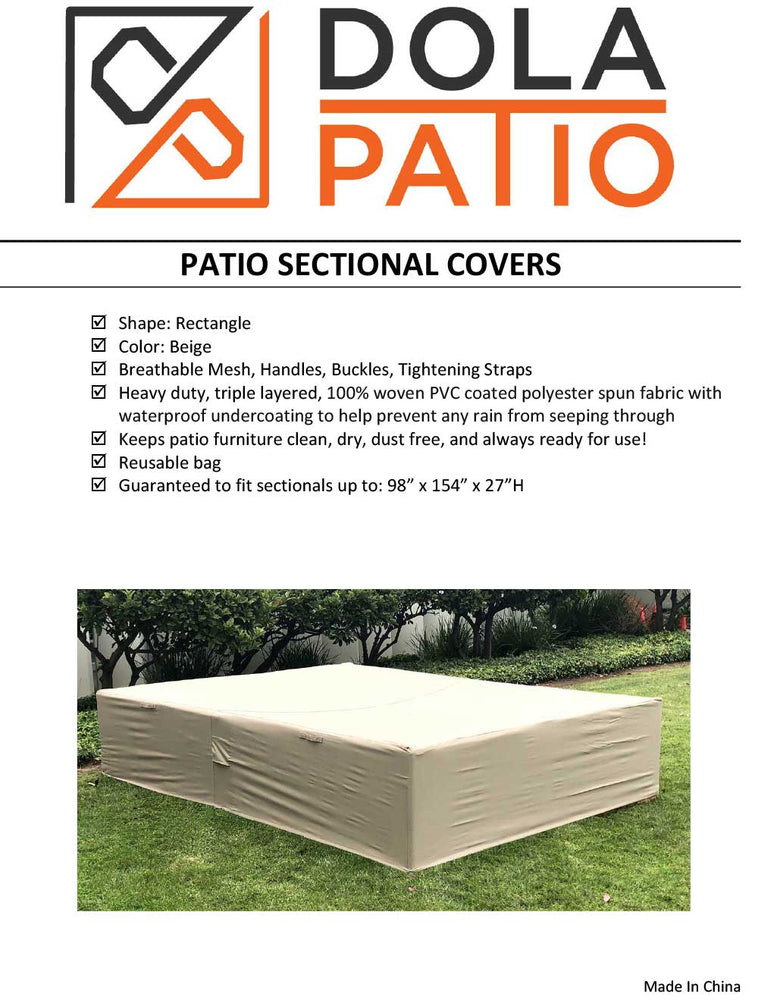 Outdoor Sectional Cover Rectangle Extra Large 98-154-27-Inches